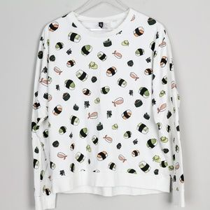 H&M Divided Sushi Print Sweater White Pullover